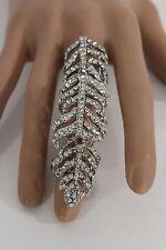 New Women Fashion Statement Huge Long Metal Ring Silver Rhinestones One Size