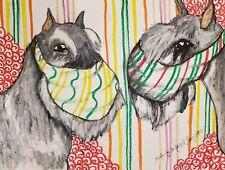 Standard Schnauzer in Quarantine 5x7 Dog Art Print Steampunk Artist Ksams