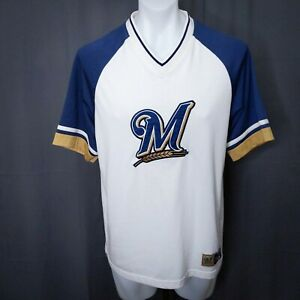Lee Sports Milwaukee Brewers Mens T Shirt Medium White Blue Gold Embroider Heavy