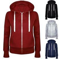Women Solid Zip Up Hoodies Sweatshirt Hooded Long Sleeve Coat Tops KK