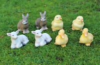 2x Tier Figur Gartenfiguren Lämmchen, kücken Ente Kücken Hase Deko ca.13 cm