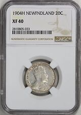 Newfoundland 1904-H Silver 20 Cents NGC XF-40