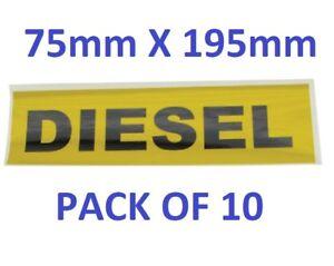 PACK OF 10, Diesel Oil Pump Stickers 195mm x 75mm - Self Adhesive