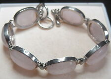 "UNIQUE 09"" 92.5 SILVER BRACELET WITH NATURAL ROSE QUARTZ   FROM SRI LANKA"
