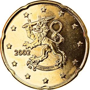 [#370673] Finlande, 20 Euro Cent, 2002, Vantaa, gold-plated coin, FDC, Laiton, K