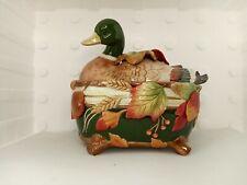 Fitz & Floyd Huntington 78/357 Covered Vegetable Bowl Duck 2002