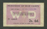 BRITISH WWII POW 2/6 WWII C5019  Fine  England Banknotes