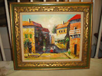 Original Oil Painting European Streets-Framed-Signed-Thick Oil Paint-Homes