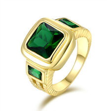 Men's Size 12 Halo Emerald Cut Emerald 18K Gold Filled Wedding Engagement Ring
