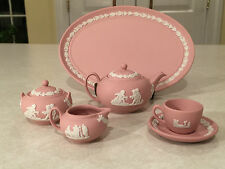 RARE! Vintage WEDGWOOD Child's Mini/Miniature PINK JASPERWARE 8 PIECE TEA SET