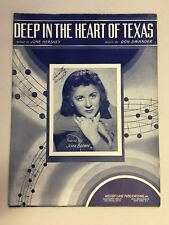 Vintage Piano Sheet Music DEEP IN THE HEART OF TEXAS Photo of Jeane Brown