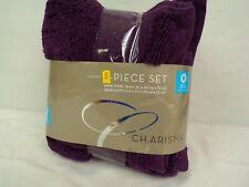 NEW 3 piece Charisma Purple Hand Towels and Washcloth set Oeko-Tex Hygro-cotton