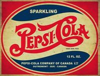 SPARKLING PEPSI COLA SODA POP HEAVY DUTY USA MADE METAL CANADA ADVERTISING SIGN