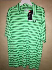 NWT UNDER ARMOUR POLO LOOSE SHORT SLEEVE SHIRT LARGE GREEN & GRAY STRIPED NEW