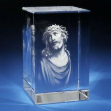 3D Laser Crystal Glass Etched Engraving Stand Religion Christ Portrait S