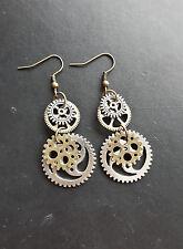 STEAMPUNK EARRINGS bronze silver cogs wheels victorian kitsch 35mm hooks