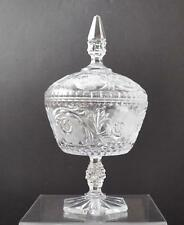 "Vintage Cut Etch Lead Crystal Clear Glass Covered Pedestal Compote Bowl 12"" B16"