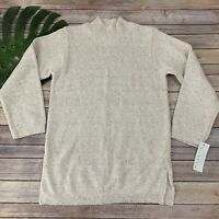 Willow Womens Pullover Tunic Sweater Size S New Cream Chunky Knit Mock Neck