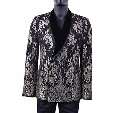 Dolce & Gabbana Blazer Jacket Black Gold Floral Lace Slim It52 / Us42