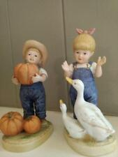 "Home Interiors Homco 1985 Denim Days ""Let Us Give Thanks"" Figurine #1502"