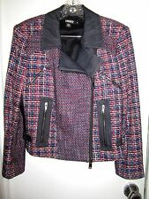 DKNY M 10 Tweedy Moto Jacket Red White Blue Blazer Asymmetrical --Mint!