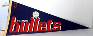 Vintage NBA Basketball Felt Pennant BALTIMORE BULLETS Team Log 1970's