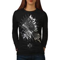 Wellcoda Apache Skull Head Fantasy Womens Long Sleeve T-shirt, USA Casual Design
