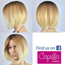 Celebrity Straight Light Blonde Ombre Dark Roots Sloping Bob Wig Hair Ciara