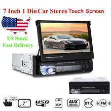 7'' 1 Din Car Radio Audio Head Unit Bluetooth Stereo Flip Out Touch Screen FM SD