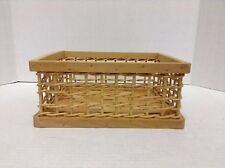 Natural Woven Wicker Open Weave Office Bathroom Storage Organizer Tray Basket