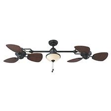 "74"" Twin Breeze Outdoor Downrod Ceiling Fan, Double Fans, Indoor Cooling, Bronze"