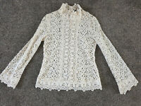 ZARA Ivory Cream Cotton Lace Flare Long sleeve Top Blouse Shirt size XS