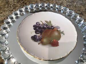Six Schumann Arzberg Germany Dessert Plates Scalloped With Fruit Pattern