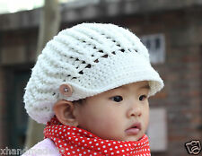 Crochet knit  Newsboy Infant Toddler Baby Hat cap bere button Photo Prop 6-12mon
