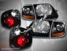 01-03 FORD F150 SVT BLACK HEADLIGHTS + CORNER LIGHTS + FLARESIDE TAIL LIGHTS