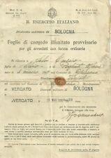 Distretto Militare di Bologna - Vergato Foglio di Congedo Illimitato 1936