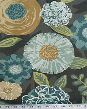 Drapery Upholstery Fabric Cotton Duck Abstract Floral 50K Dbl Rubs - Charcoal