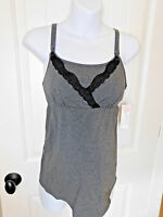 NEW NWT Gilligan & O'Malley Nursing Gray tank top Cami with Black Lace S Small