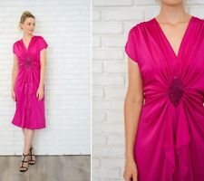 Vintage 80s Draped Pink Dress Retro Plunging V Shift Medium M Party Retro