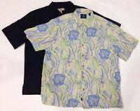 Caribbean Joe Hawaiian Shirt Size XL Embossed Floral Black/White Jaws beach lot