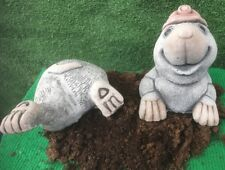 Miner Mole And Bottom - Garden Ornament  - Hand Cast