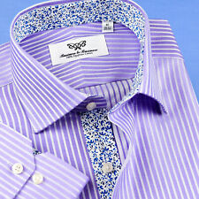 Mens Lilac Herringbone Professional Formal Business Shirts With Blue Floral