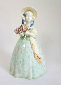 Vintage Deco Continental ceramic figure of a Girl in crinoline dress and bonnet