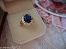Antique Vintage Gold Dress Ring Dark Sapphire Blue and White Stones size 8 or Q