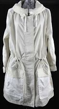 Coach New York White Cream Long Nylon Blend Wide Collar Rain Jacket M BNWT
