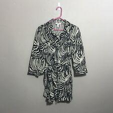 Style & Co Womens Sz 16 Zebra Print 100% Linen Button Front Belted Shirt Jacket