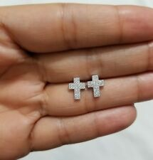 SILVAGE Men Women 925 Sterling Silver Micro Pave Cz Stones Cross Stud Earrings