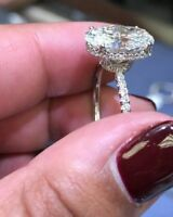 2.00 ct. Oval Cut Diamond Micro Pave Under Halo Engagement Ring D, VS2 GIA 14K