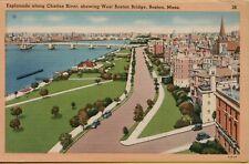 Vtg Esplanade Along Charles River West Boston Bridge Massachusetts 1945 Postcard