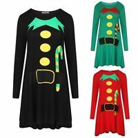 Women Long Sleeve ELF Santa Print Xmas Christmas Swing Skater Ladies Dress 8-26